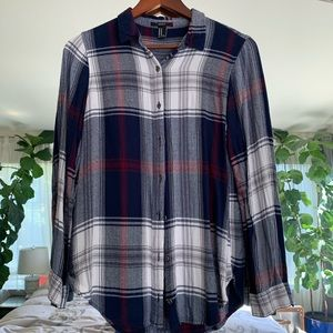 Dark Blue Plaid Button Down Top